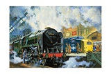 Evening Star, the Last Steam Locomotive and the New Diesel-Electric Deltic Giclee Print by Harry Green