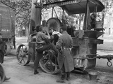 British Soldier Shaving on a Wallis and Steevens Steam Tractor and French Soldier on Watch, 1914 Photographic Print by Jacques Moreau