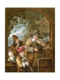 The Itinerant Musicians Giclee Print by Christian Wilhelm Ernst Dietrich