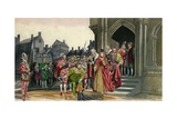 Sir Walter Raleigh Lays Down His Cloak for Queen Elizabeth I Giclee Print by Peter Jackson