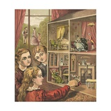 Girls Playing with a Dolls House Giclee Print by  English School