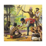 Magellan's Men Meeting Friendly Natives in the Philippines and Trading for Food Giclee Print by Severino Baraldi