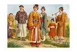 Chinese Costumes - Peasants and Townspeople Giclee Print by Tancredi Scarpelli