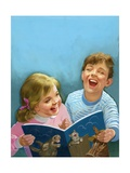 Children Laughing Giclee Print by Van Der Syde