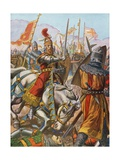 Frederick Barbarossa Is Wounded at the Battle of Legnano, 1176 Giclee Print by Tancredi Scarpelli