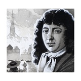 Samuel Pepys and the Great Fire of London Giclee Print by Angus Mcbride
