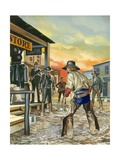 Shoot Out in the Wild West Giclee Print by Ron Embleton