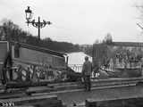 Footbridge Hidden by Backdrops from Fairground Stalls, Soissons, 1917 Photographic Print by Jacques Moreau