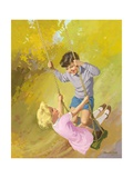Boy and Girl on a Swing Giclee Print by Van Der Syde