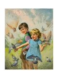 Boy and Girl with Pigeons Giclee Print by Van Der Syde