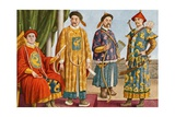 Chinese Costumes - Emperor, Mandarin, and Military Mandarin Giclee Print by Tancredi Scarpelli