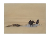 Sledge Hauling on Ski. A Grey Day on the Great Ice Barrier, 1903 Giclee Print by Edward Adrian Wilson