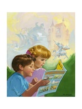 Boy and Girl Reading Giclee Print by Van Der Syde