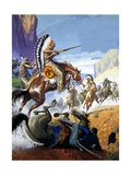 Skirmish Involving Indians and Soldiers Giclee Print by Severino Baraldi