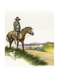 Depressed and Dispossessed Red Indian on Horseback Giclee Print by Ron Embleton