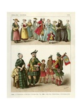English and Scotch Costumes 1700 Giclee Print by Albert Kretschmer