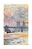 The Thames, Charing Cross Giclee Print by Rose Maynard Barton