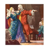 Handel Is Shown Seeking to Control a Temperamental Opera Singer Giclee Print by Ralph Bruce
