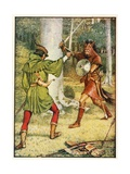 Robin Hood and Guy of Gisborne Giclee Print by Walter Crane