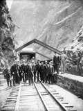 Hanging Bridge - President Theodore Roosevelt and Party in the Royal Gorge of the Arkansas River,… Photographic Print by George Lytle Beam