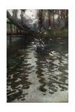 Feeding the Gulls from the Bridge in St James's Park Giclee Print by Rose Maynard Barton