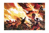 Henry Morgan's Ragged 'Army' Defeating the Spanish Foe and Destroying the City of Panama Giclee Print by Oliver Frey