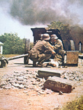 WW2 German Anti-Tank Gun, Panzerjaeger, in Action Photographic Print by  German photographer