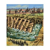 Construction of First Underground Railway Giclee Print by Harry Green