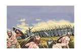 British Tribes Tried to Prevent the Roman Legionaries of Julius Caesar from Crossing the Thames Giclee Print by Ron Embleton