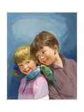 Boy and Girl with Budgerigars Giclee Print by Van Der Syde