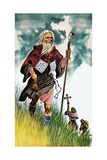 Saint Patrick Takes God's Message across Ireland on Foot Giclee Print by Peter Jackson