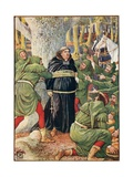 The Abbot of Saint Maries Taken by Robin Hood Giclee Print by Walter Crane