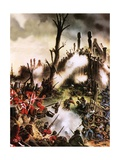 Storming of Maori Fort Giclee Print by Oliver Frey