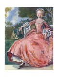 A Woman of the Time of George I 1714-1727 Giclee Print by Dion Clayton Calthrop