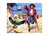 Long John Silver and His Parrot Giclee Print by James Edwin Mcconnell