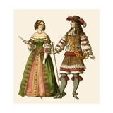 King Louis XIV of France and Maria Theresa Queen of France Giclee Print by Albert Kretschmer