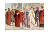 Tuscan Costumes of the 13th Century Giclee Print by Tancredi Scarpelli