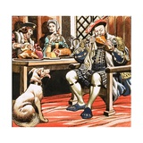 King Henry VIII Eating Giclee Print by Ron Embleton