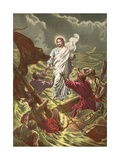 Jesus Walking on the Water Giclee Print by  North American