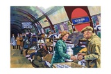 London Underground in the Blitz Giclee Print by Harry Green