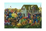 Medieval Soldiers Looting and Pillaging Giclee Print by Richard Hook