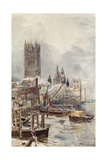 The New Houses of Parliament, from the River Giclee Print by John Fulleylove