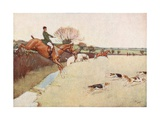 The Dogs Came Dashing across the Field... the Horses Following Close Upon the Dogs Giclee Print by Cecil Charles Windsor Aldin