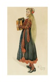 Lisbeth Playing the Accordian, 1909 Giclee Print by Carl Larsson