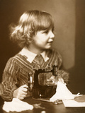 Girl with a Model Singer Sewing Machine, 1920 Photographic Print by  German photographer