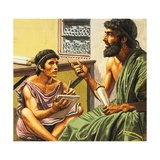 Writing Lesson in Ancient Athens Giclee Print by Roger Payne