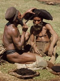 Highlands Wigmen Fixing a Wig, Mount Hagen, Papua New Guinea 1974 Photographic Print