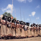 Mount Hagen Tribesmen Performing Dance at a Sing-Sing, Mount Hagen, Papua New Guinea, 1974 Photographic Print