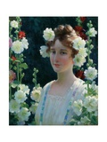 Among the Hollyhocks, 1904 Giclee Print by Charles Courtney Curran
