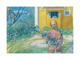 Girl with Apple Blossom, 1914 Lámina giclée por Carl Larsson